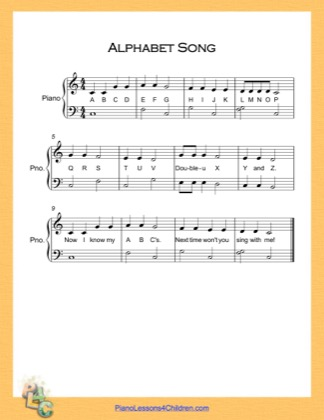 Thumbnail of first page of Alphabet Song Very Easy  (C Major) piano sheet music PDF by English Alphabet.