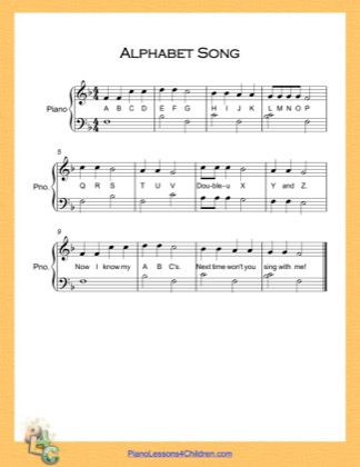 Thumbnail of first page of Alphabet Song Very Easy  (F Major) piano sheet music PDF by English Alphabet.