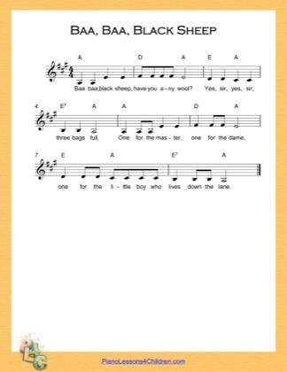 Thumbnail of first page of Baa Baa Black Sheep (A Major) (Easy) piano sheet music PDF by Nursery Rhyme.