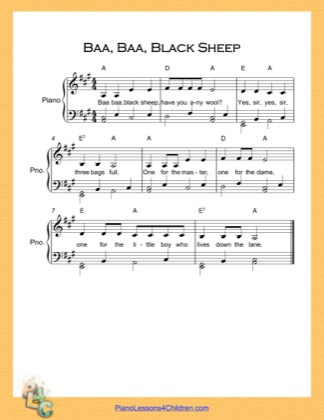 Thumbnail of first page of Baa Baa Black Sheep  (A Major) piano sheet music PDF by Nursery Rhyme.