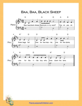 Thumbnail of first page of Baa Baa Black Sheep Very Easy  (D Major) piano sheet music PDF by Nursery Rhyme.
