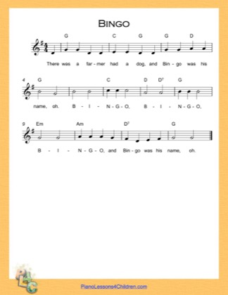 Thumbnail of first page of Bingo (G Major) (Easy) piano sheet music PDF by Nursery Rhyme.