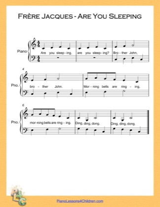 Thumbnail of first page of Frere Jacques Are You Sleeping Easy  (C Major) piano sheet music PDF by Nursery Rhyme.