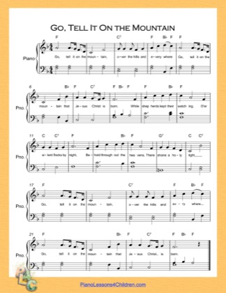 Thumbnail of first page of Go Tell It On the Mountain Easy  (F Major) piano sheet music PDF by Nursery Rhyme.