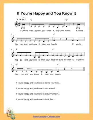 Thumbnail of first page of If You Are Happy and You Know It (C Major) piano sheet music PDF by Nursery Rhyme.