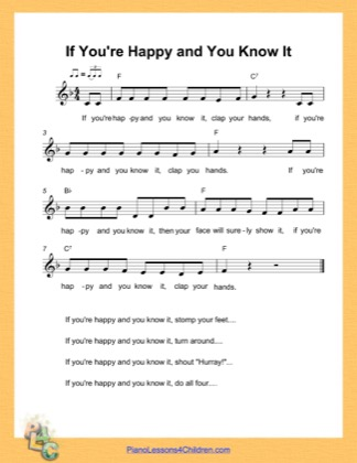 Thumbnail of first page of If You Are Happy and You Know It (F Major) (Easy) piano sheet music PDF by Nursery Rhyme.
