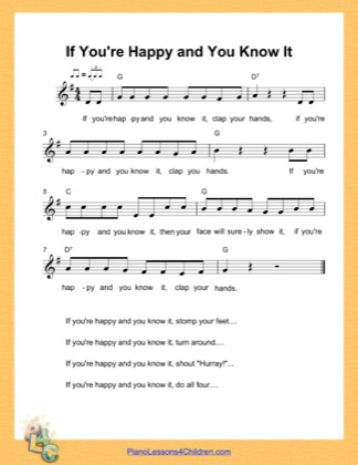 Thumbnail of first page of If You Are Happy and You Know It (G Major) piano sheet music PDF by Nursery Rhyme.