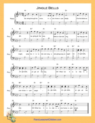Thumbnail of first page of Jingle Bells (A Flat Major) Easy  piano sheet music PDF by Christmas Carol.