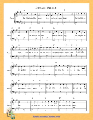 Thumbnail of first page of Jingle Bells (A Major) Easy  piano sheet music PDF by Christmas Carol.
