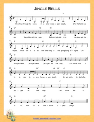Thumbnail of first page of Jingle Bells (C Major) piano sheet music PDF by Christmas Carol.