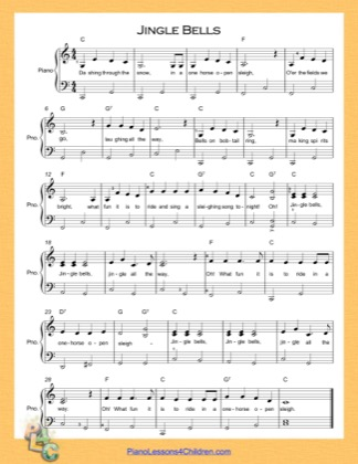 Thumbnail of first page of Jingle Bells (C Major) Easy  piano sheet music PDF by Christmas Carol.