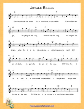 Thumbnail of first page of Jingle Bells (C Major) High piano sheet music PDF by Christmas Carol.