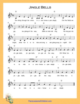 Thumbnail of first page of Jingle Bells (D Major) piano sheet music PDF by Christmas Carol.