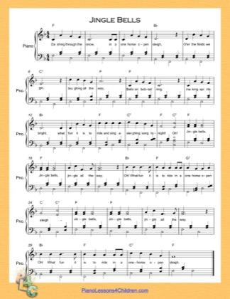 Thumbnail of first page of Jingle Bells (F Major)  piano sheet music PDF by Christmas Carol.
