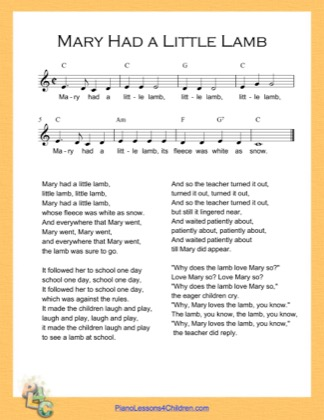 Thumbnail of first page of Mary Had a Little Lamb (C Major) piano sheet music PDF by Nursery Rhyme.