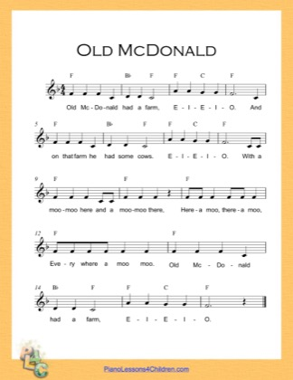 Thumbnail of first page of Old McDonald (F Major) piano sheet music PDF by Nursery Rhyme.