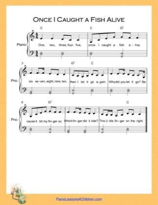 Thumbnail of first page of Once I Caught a Fish Alive Easy  (C Major) piano sheet music PDF by Nursery Rhyme.