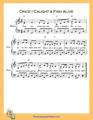 Thumbnail of first page of Once I Caught a Fish Alive  (C Major) piano sheet music PDF by Nursery Rhyme.