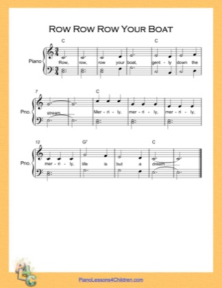 Thumbnail of first page of Row Row Row Your Boat Easy  (C Major) piano sheet music PDF by Nursery Rhyme.