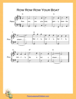 Thumbnail of first page of Row Row Row Your Boat Easy  (G Major) Higher piano sheet music PDF by Nursery Rhyme.