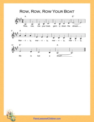 Thumbnail of first page of Row Row Row Your Boat Simple Chords (A Major) piano sheet music PDF by Nursery Rhyme.