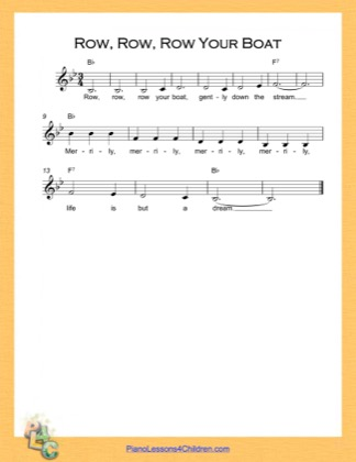 Thumbnail of first page of Row Row Row Your Boat Simple Chords (B Major) piano sheet music PDF by Nursery Rhyme.