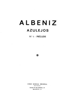 Thumbnail of first page of AzulejosNo. 1 Prelude piano sheet music PDF by Isaac Albeniz.