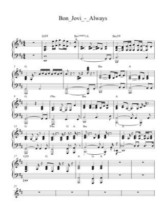 Thumbnail of first page of Always piano sheet music PDF by Bon Jovi.