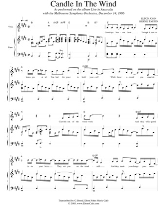 Thumbnail of first page of Candle In The Wind piano sheet music PDF by Elton John.