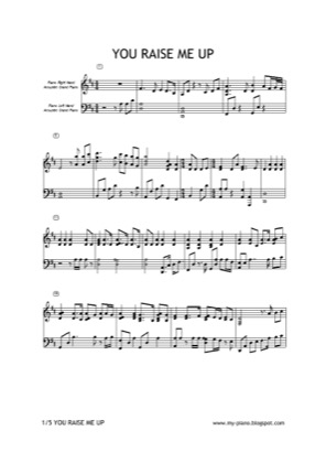 Thumbnail of first page of You Raise Me Up piano sheet music PDF by Josh Groban.