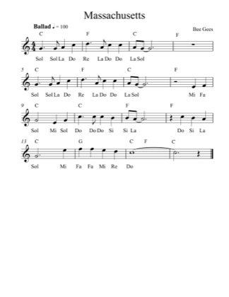 Thumbnail of first page of Massachusetts (Simplified) piano sheet music PDF by Bee Gees.