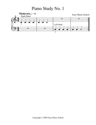 Thumbnail of first page of Piano Study No. 1 piano sheet music PDF by Easy Music School.
