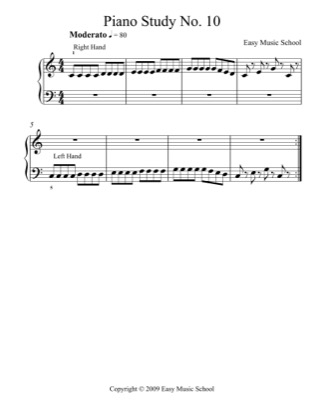 Thumbnail of first page of Piano Study No. 10 piano sheet music PDF by Easy Music School.