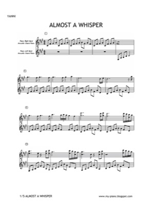 Thumbnail of first page of Almost A Whisper piano sheet music PDF by Yanni.