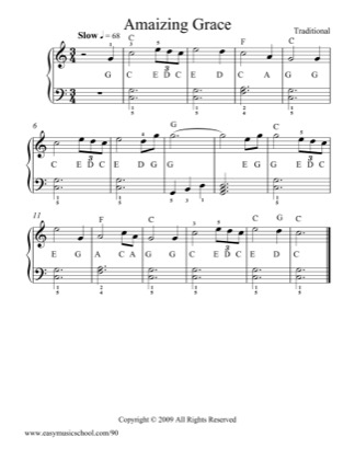 Thumbnail of first page of Amazing Grace piano sheet music PDF by Scottish Folk Song.