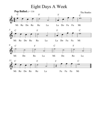Thumbnail of first page of Eight Days A Week (Lvl 4) piano sheet music PDF by The Beatles.
