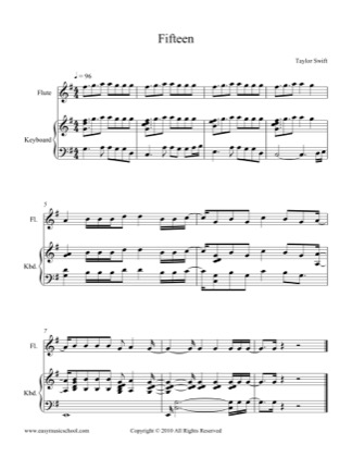 Thumbnail of first page of Fifteen piano sheet music PDF by Taylor Swift.