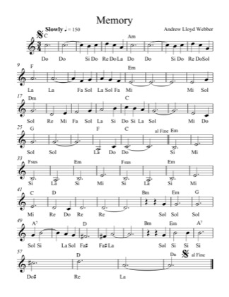 Thumbnail of first page of Memory (Lvl 5) piano sheet music PDF by Andrew Lloyd Webber.