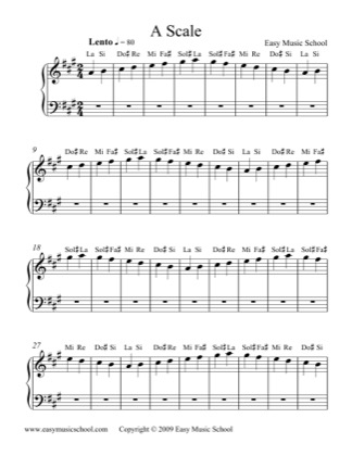 Thumbnail of first page of A Scale piano sheet music PDF by Easy Music School.