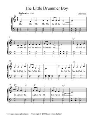 The Little Drummer Boy - Christmas Carol Free Piano Sheet Music PDF