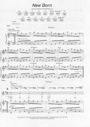 New Born By Muse Piano Sheet Music Sheetdownload