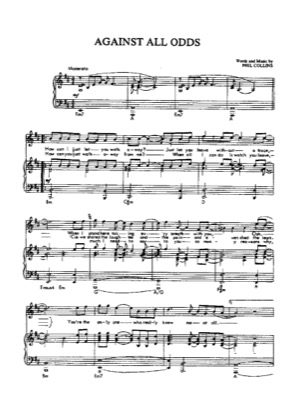 Thumbnail of first page of All Against the Odds piano sheet music PDF by Phil Collins.