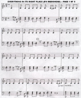 Thumbnail of first page of Everything In Its Right Place piano sheet music PDF by Radiohead.