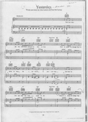 Thumbnail of first page of Yesterday piano sheet music PDF by The Beatles.