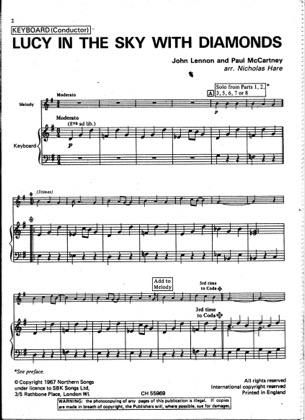 Thumbnail of first page of Lucy in the Sky with Diamonds piano sheet music PDF by The Beatles.