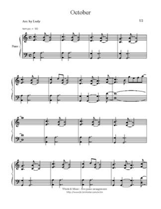 October By U2 Piano Sheet Music Sheetdownload