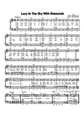 Thumbnail of first page of Lucy in the Sky with Diamonds (2) piano sheet music PDF by The Beatles.