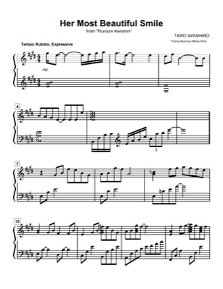 Thumbnail of first page of Her Most Beautiful Smile piano sheet music PDF by Rurouni Kenshin.