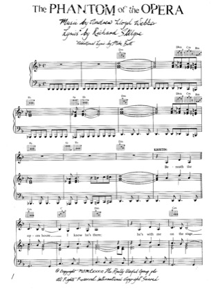 Thumbnail of first page of Phantom of the Opera piano sheet music PDF by The Phantom Of The Opera .