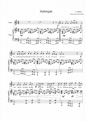 Thumbnail of first page of Hallelujah piano sheet music PDF by Shrek.